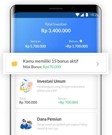 Tampilan baru bonus di aplikasi Ajaib investasi