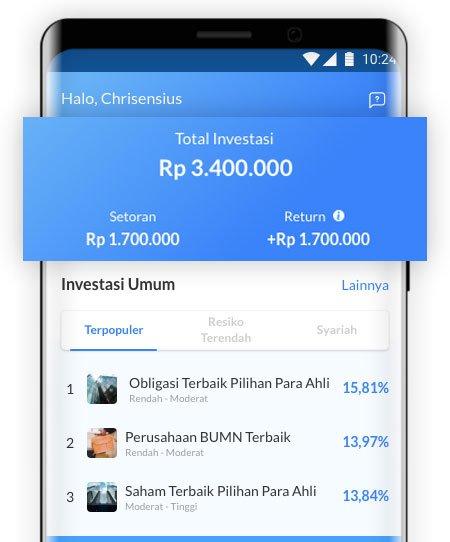 Tampilan aplikasi Ajaib investasi, setelah dilakukan rekalkulasi