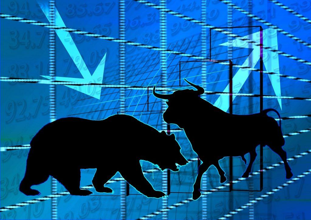 Ilustrasi artikel Ajaib: Pasar saham bullish/bearish.