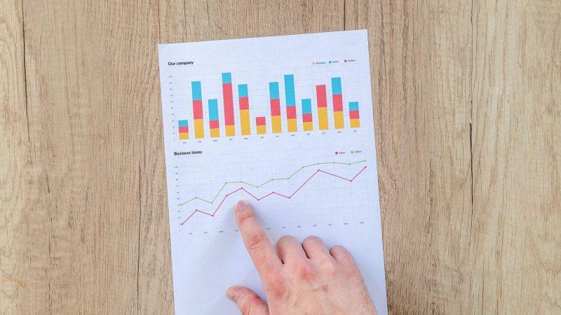 Ilustrasi memilih investasi dengan mempelajari laporan keuangan berdasarkan kinerja dengan grafik.
