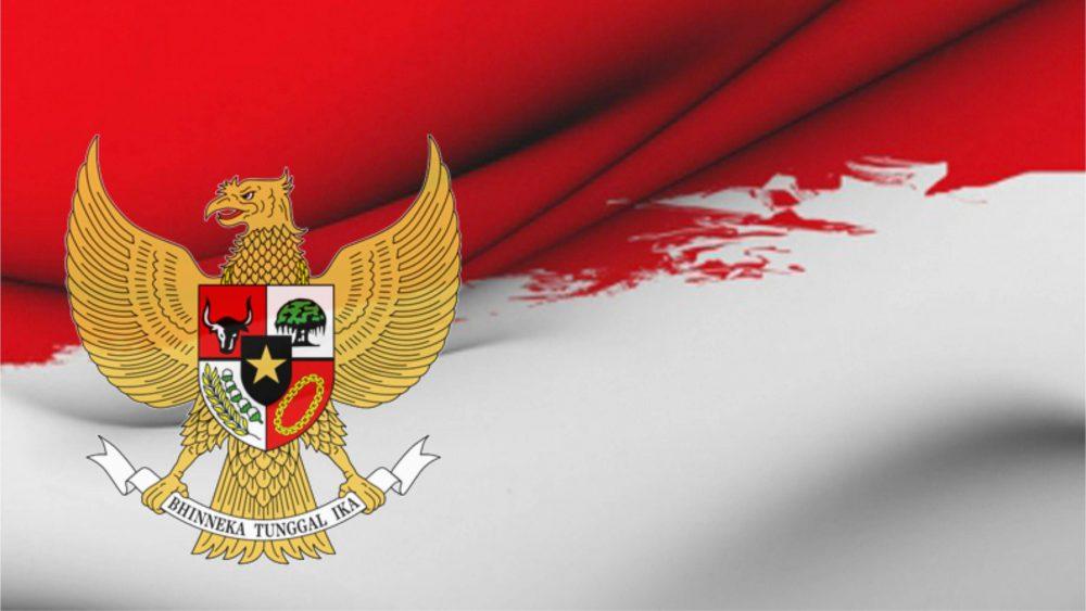 Lambang Pancasila dan bendera Indonesia.