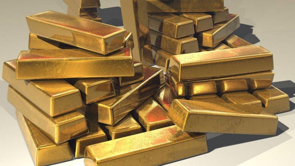 Sejumlah emas batangan.