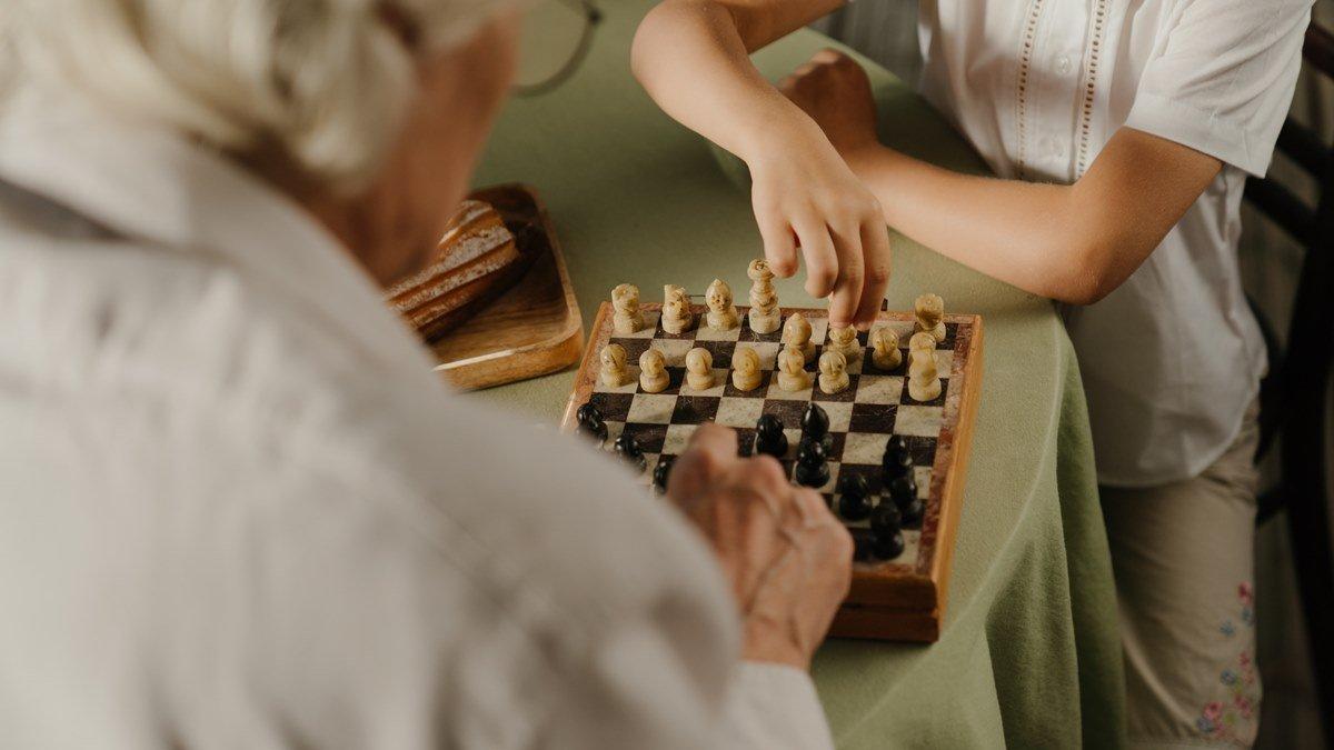 Dua orang yang sedang main catur bersama.
